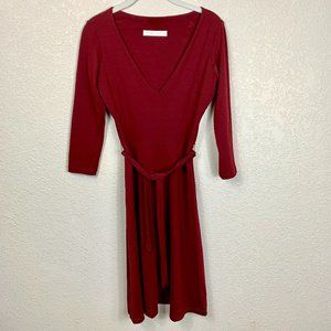 Susana Monaco Burgundy V Neck Supplex Dress w Belt